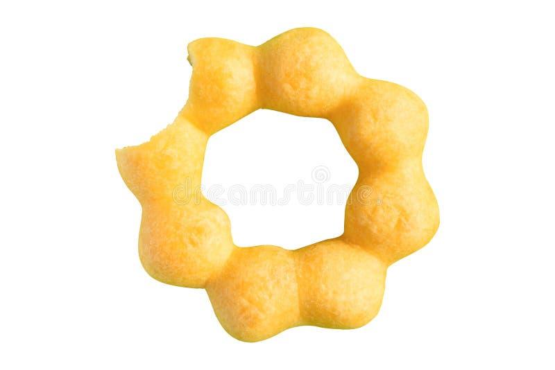 Никакой донут сахара не сдерживает цветки традиционного стиля желтые, конфету, закуски, праздник изолированная белая предпосылка стоковая фотография