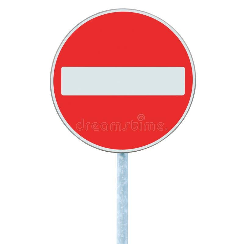 Никакой дорожный знак входа, предупреждение обочины движения на столбе поляка, не изолировал вертикальный крупный план стоковые изображения rf