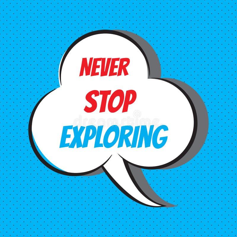 Никогда не останавливайте исследовать Мотивационная и вдохновляющая цитата иллюстрация вектора