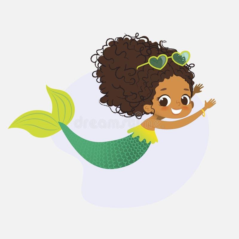 Нимфа девушки африканского характера русалки мифическая милая иллюстрация вектора