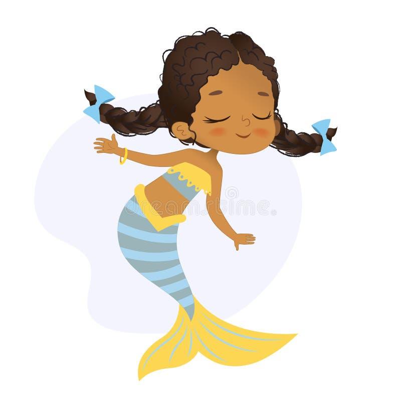 Нимфа моря девушки африканского характера русалки красивая иллюстрация штока