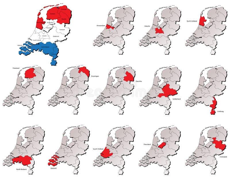 Нидерландские карты провинций иллюстрация штока