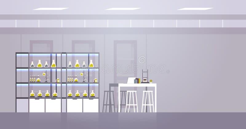 ни одна лаборатория химии с другим оборудованием, ученый-специалист по химии на рабочем месте иллюстрация вектора