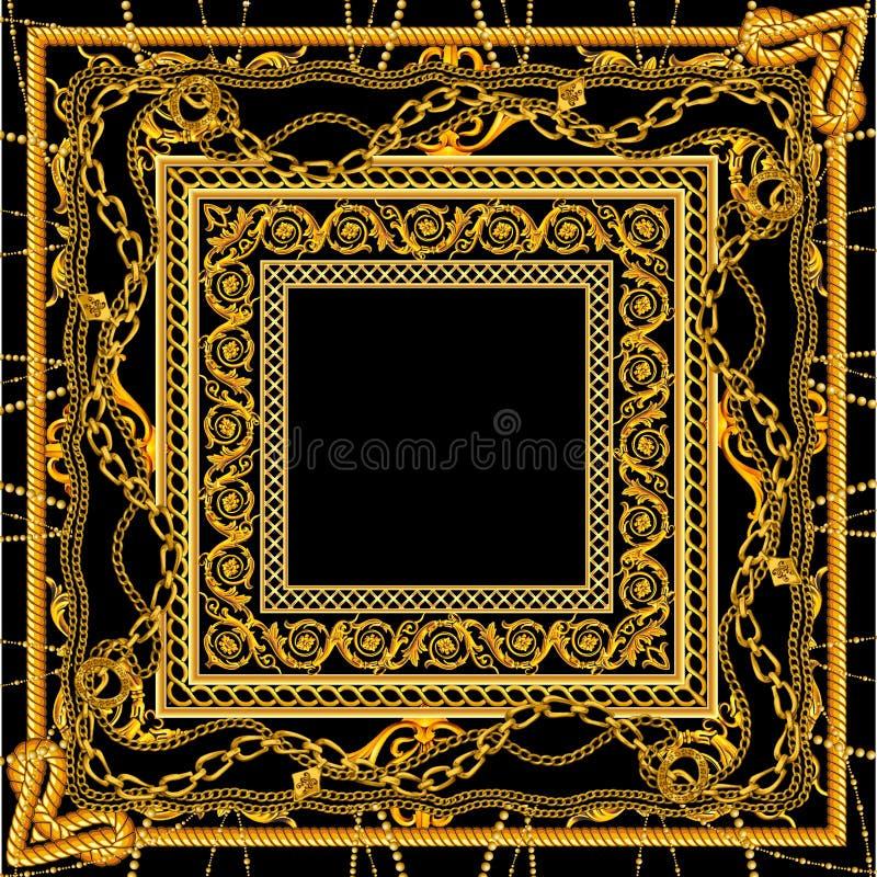 Новая барочная золотая цепь в черном белом дизайне шарфа цвета иллюстрация штока