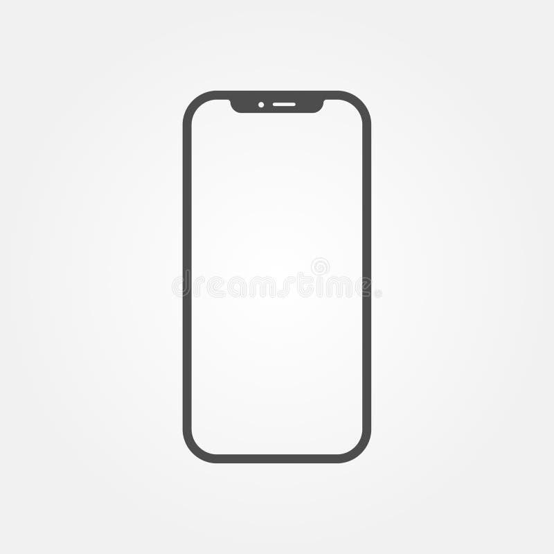 Новая версия smartphone серого цвета тонкого подобного к iphone x с пустым белым экраном бесплатная иллюстрация