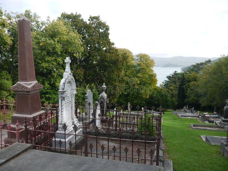 Новая Зеландия: Погост XIX века Akaroa исторический стоковое изображение