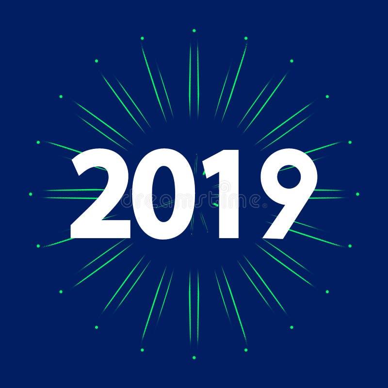 Новая карта 2019 год с фейерверком иллюстрация штока