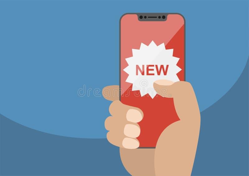 Новая концепция app показанная на frameless сенсорном экране как иллюстрация Рука держа smartphone шатона свободный иллюстрация штока