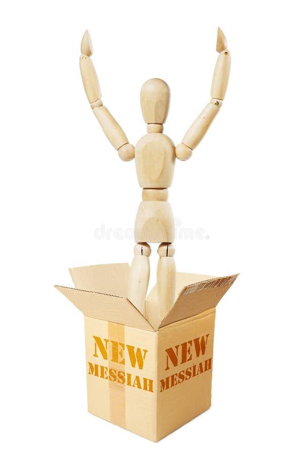 Новая мессия перескакивает вне от картонной коробки стоковая фотография