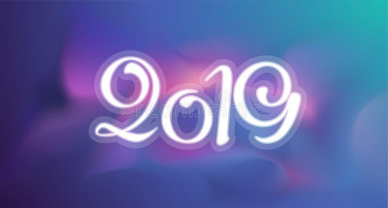 Новая поздравительная открытка 2019 год Предпосылка шаблона вектора красочная стоковая фотография rf