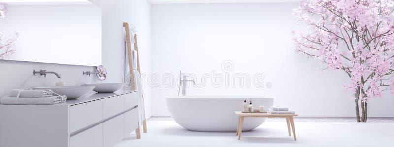 Новая современная ванная комната Дзэн с белой стеной перевод 3d стоковые изображения rf