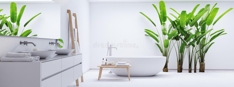 Новая современная ванная комната Дзэн с троповыми заводами перевод 3d стоковые фотографии rf