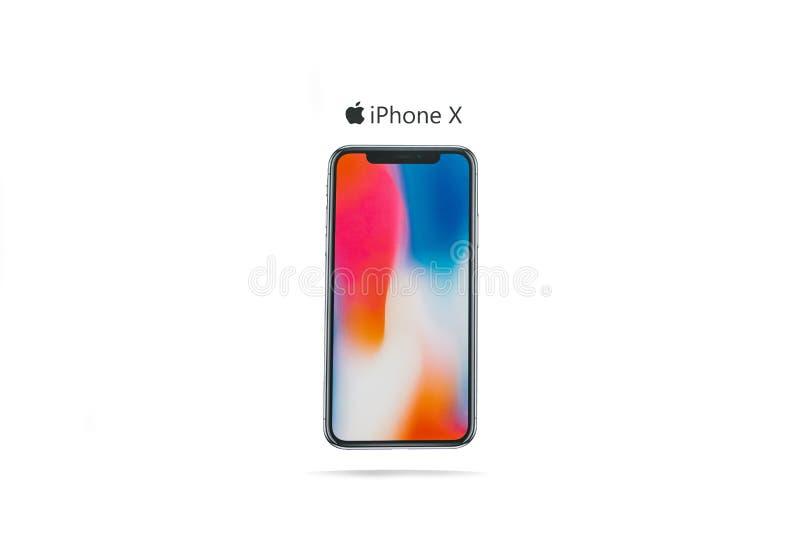Новая frameless фирма телефона Яблока вызвала иллюстрацию передовицы iPhone x на белой предпосылке с стоковая фотография