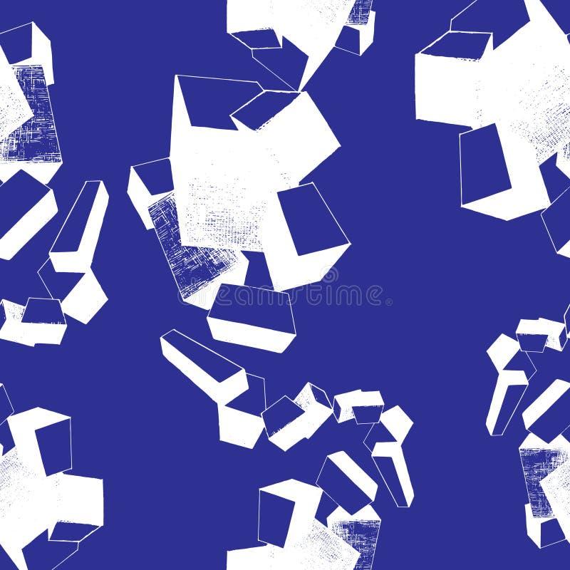 новички текстурируют, безшовные картина, синь и белизна иллюстрация штока