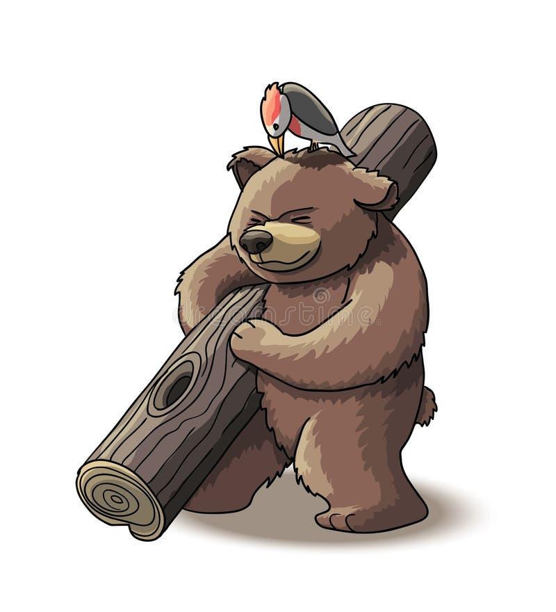 Новичок бурого медведя носит древесину иллюстрация вектора
