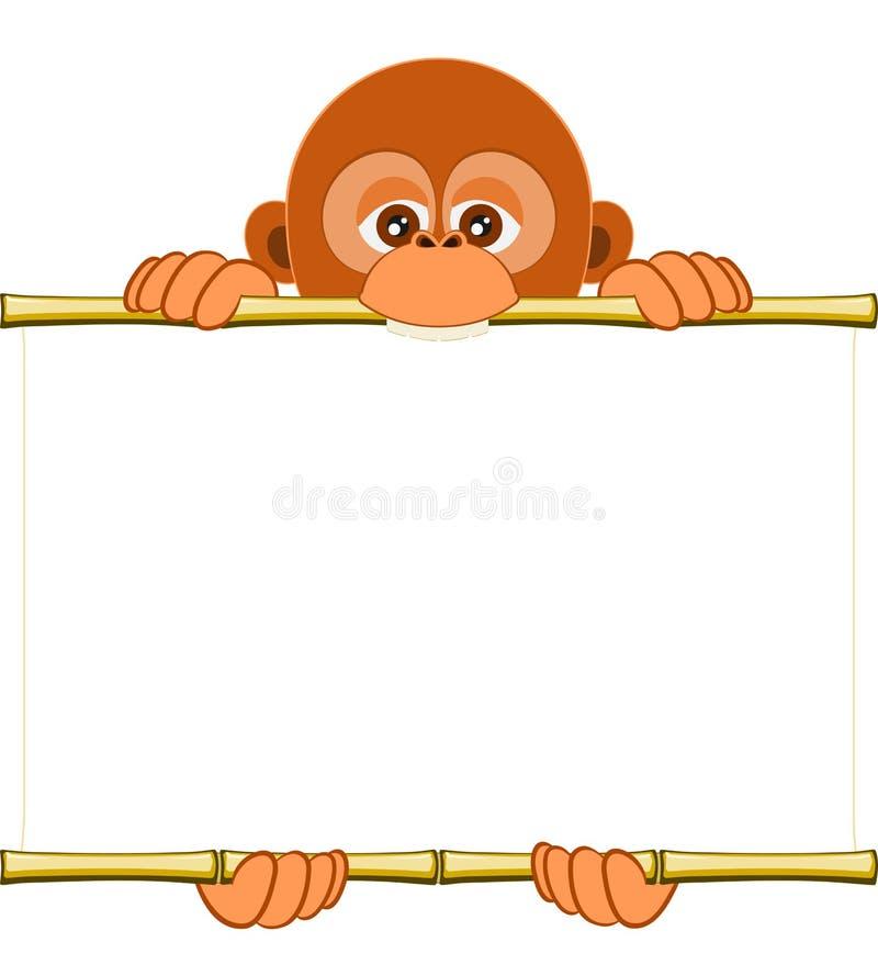 Новичок орангутана шаржа держа чистый лист бумаги иллюстрация штока