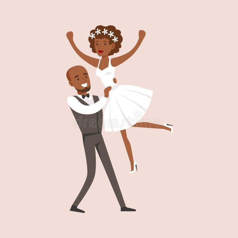 Новобрачные делая пакостный финал танцев на сцене свадебного банкета иллюстрация штока