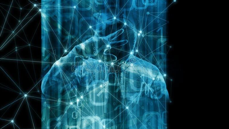 Нововведение машинного обучения в зачатии символа алгоритма глобальной вычислительной сети, бинарной кодируя предпосылке, компьют иллюстрация вектора