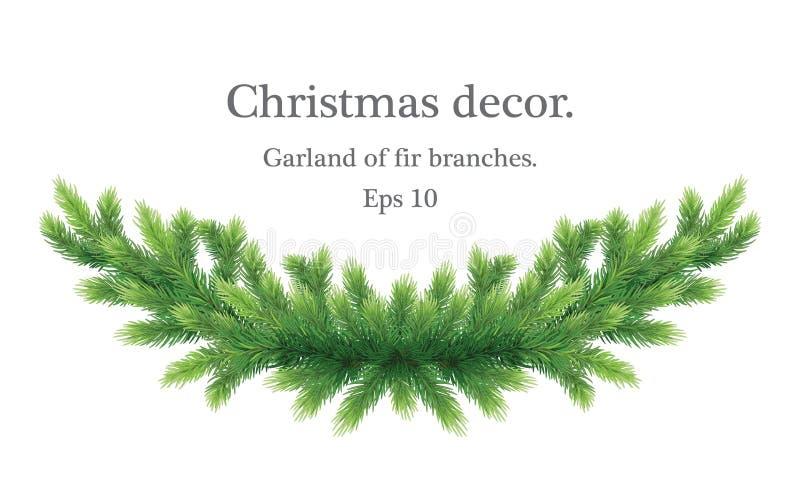 Новогоднее поздравление или поздравительная открытка Элегантный реалистичный гарланд ветвей Рождественское украшение Естественный иллюстрация штока