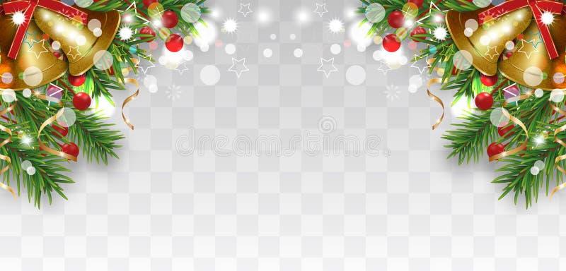 Новогоднее украшение с рождественскими ветвями, золотыми колокольчиками и голыми ягодами, золотыми лентами Яркая граница иллюстрация вектора