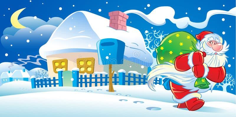 Новогодняя ночь Santa Claus иллюстрация штока