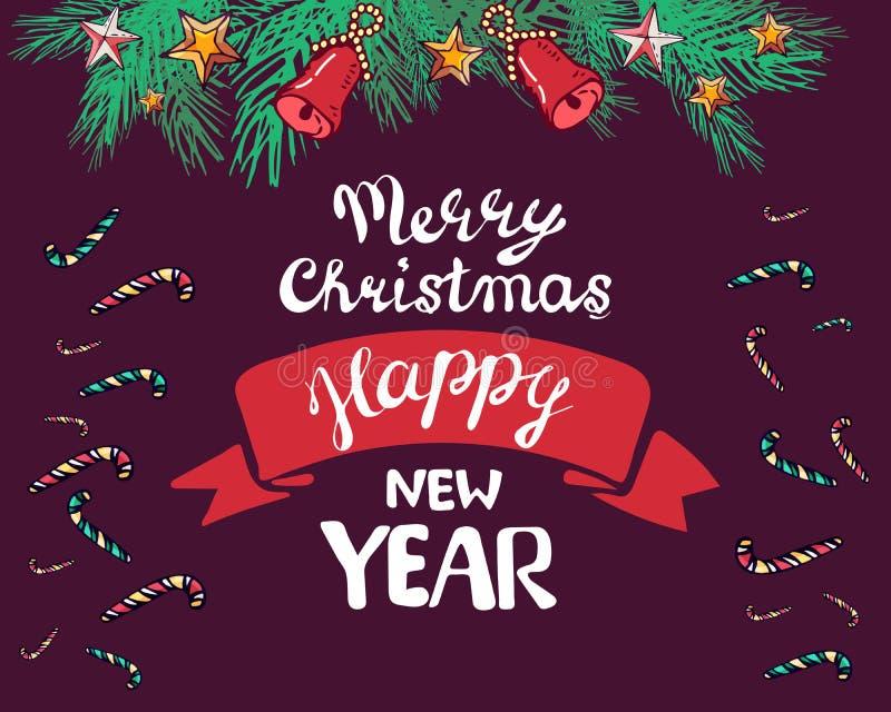 Нового Года поздравительная открытка 2019 украшает ветвь, колоколы, звезды, ветвь также вектор иллюстрации притяжки corel помечат иллюстрация вектора