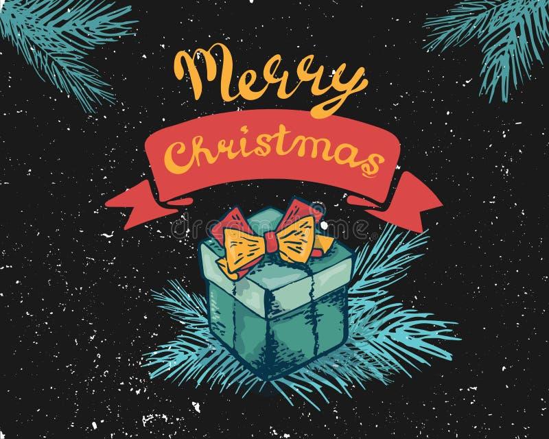 Нового Года поздравительная открытка 2019 украшает подарочную коробку, ветвь также вектор иллюстрации притяжки corel Помечать бук иллюстрация вектора