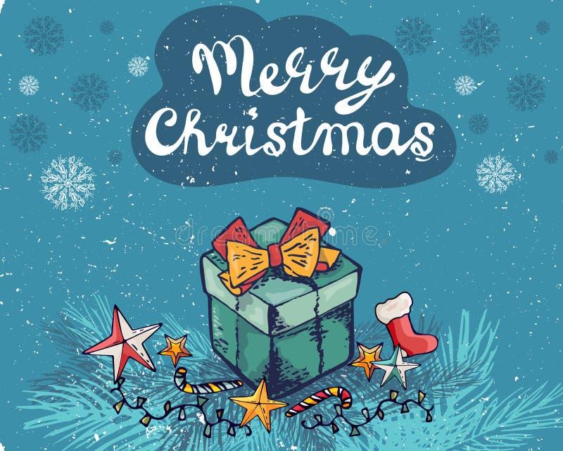 Нового Года поздравительная открытка 2019 украшает подарочную коробку, звезду ветви, носок, snowfakes также вектор иллюстрации пр бесплатная иллюстрация