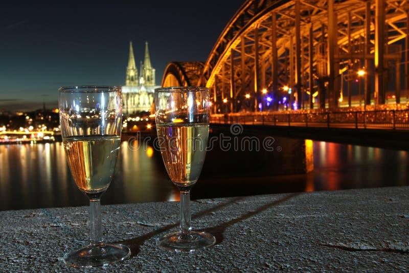 Новогодняя ночь Кёльн Германия стоковые фотографии rf