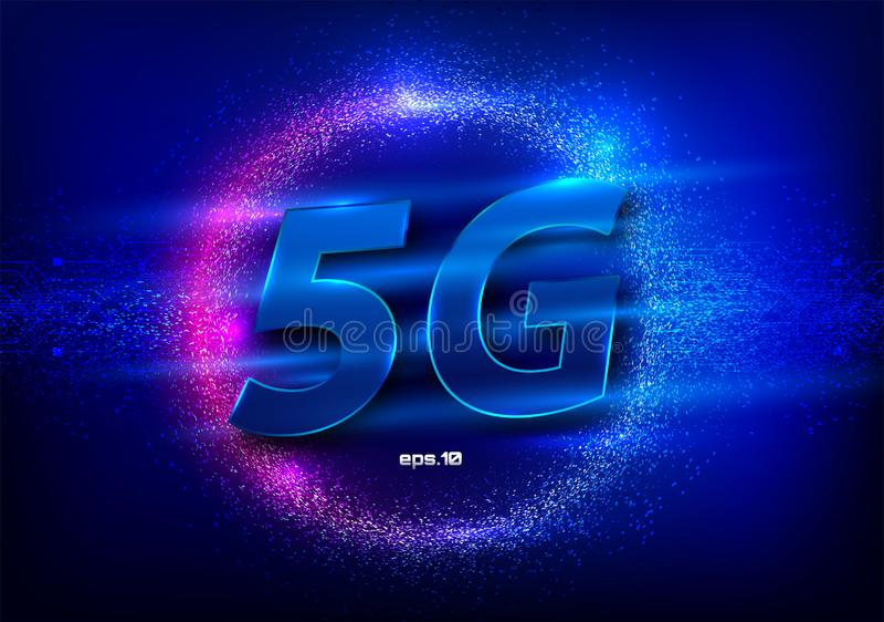 новое беспроводное соединение wifi интернета 5G Большие показатели расхода бинарного кода данных Данные по соединения нововведени иллюстрация вектора