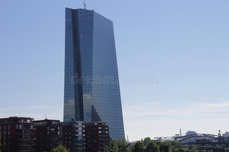Новое здание Европейского Центрального Банка в Франкфурте, Германии стоковая фотография rf
