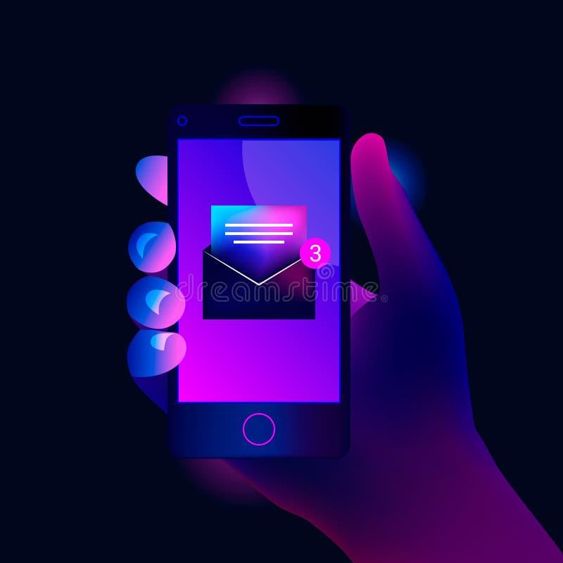 Новое открытое уведомление электронной почты на мобильном телефоне бесплатная иллюстрация