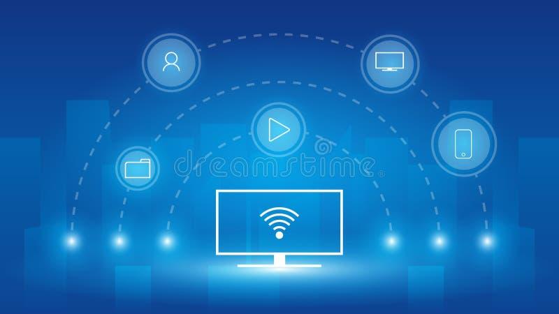 Новое поколение умных приборов на умная жизнь, беспроводная связь с другими приборами, интернет концепции вещи IOT, применения иллюстрация вектора