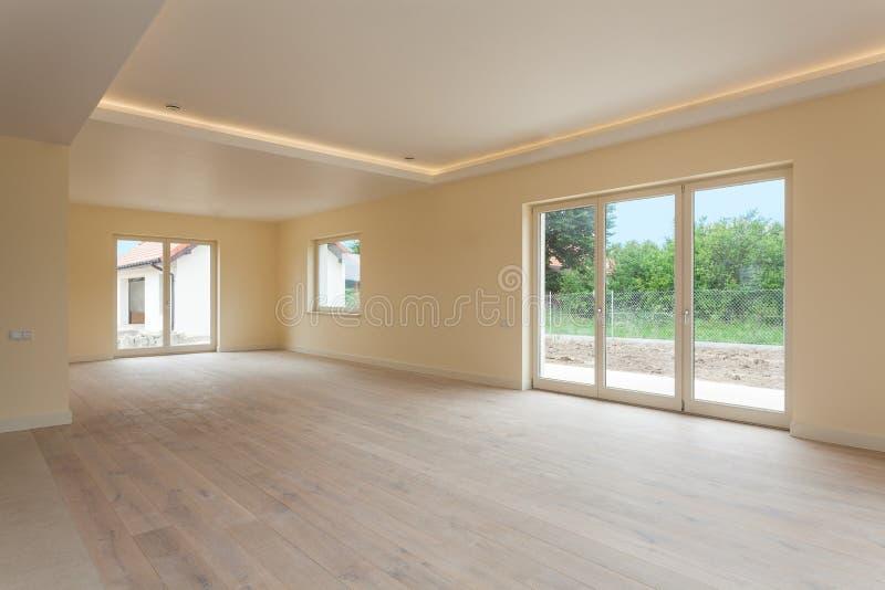 Новое строительство, пустая комната стоковые фотографии rf