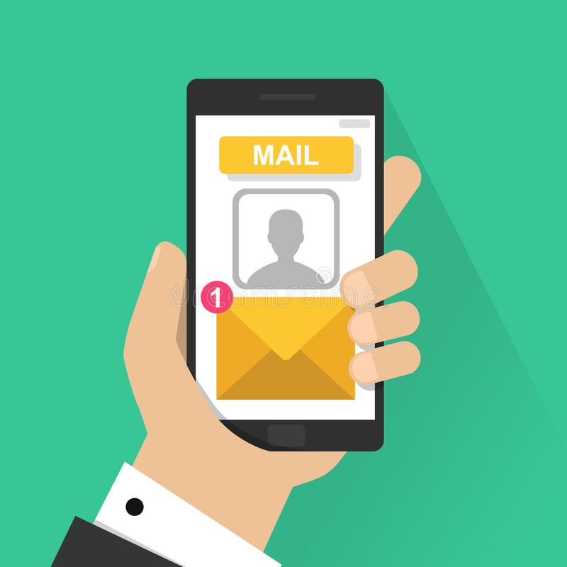 Новое уведомление электронной почты на иллюстрации вектора мобильного телефона, прочитанном экране smartphone с новым непрочитанн иллюстрация штока