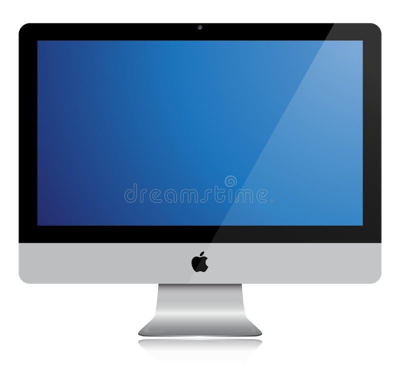 Новое яблоко imac - голубой экран иллюстрация вектора