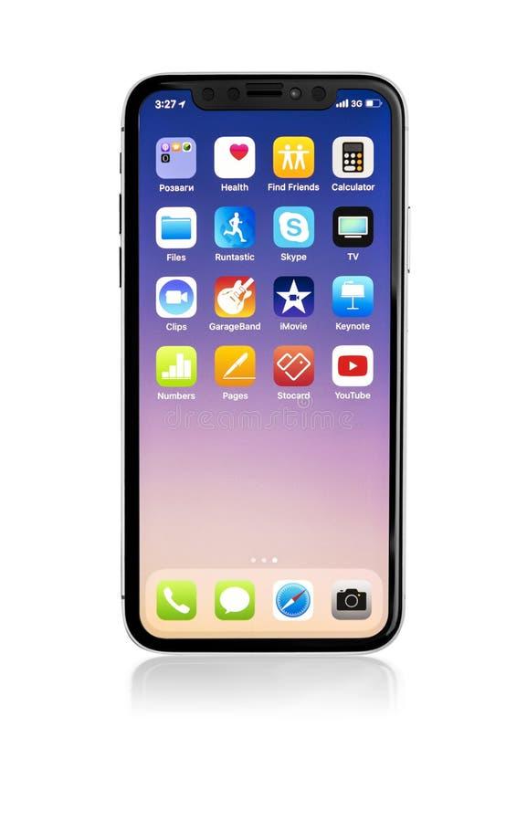 Новое iPhone x 10 на белой предпосылке, съемке студии стоковое изображение rf