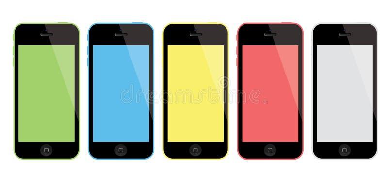 Новое iPhone 5C Яблока иллюстрация вектора