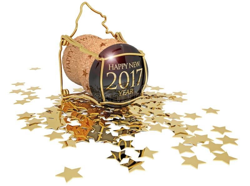 Новое year& x27; пробочка шампанского s и золотые звезды иллюстрация штока