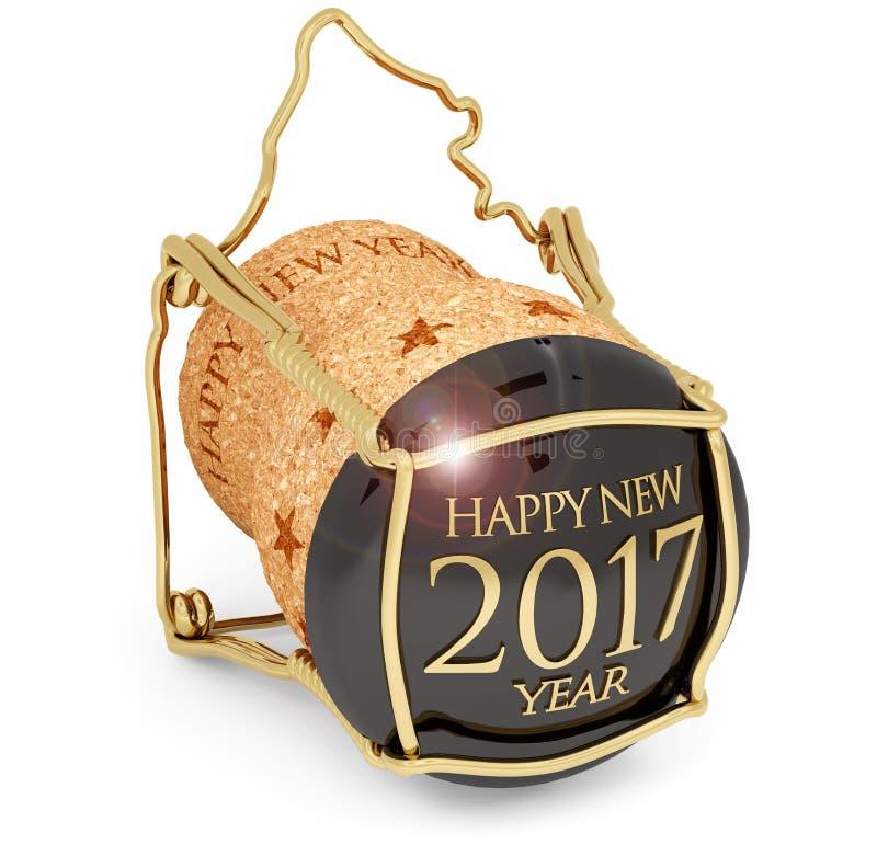Новое year& x27; пробочка 2017 шампанского s иллюстрация вектора
