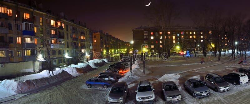 Новокузнецк, Россия - 31-ое января 2017: Залитая лунным светом ноча над стоковое изображение