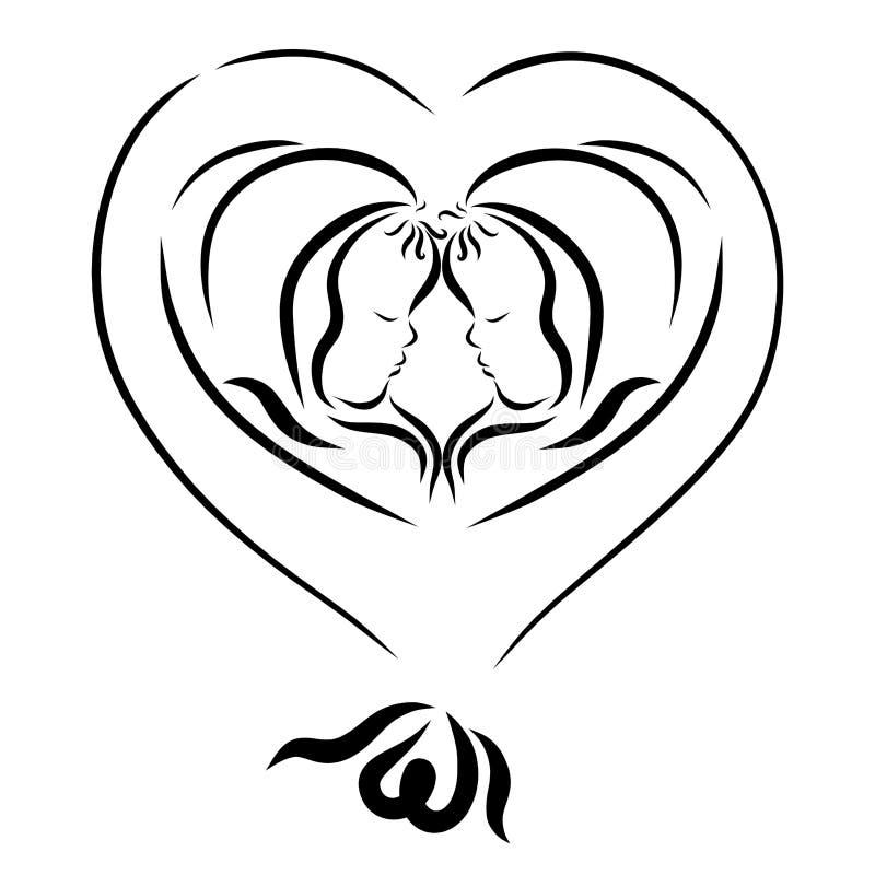2 новорожденного ребенка в воздушном шаре, сердце иллюстрация штока
