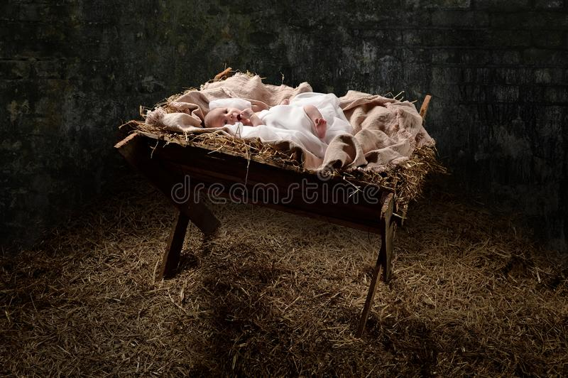 Новорожденный Иисус на кормушке стоковые фотографии rf