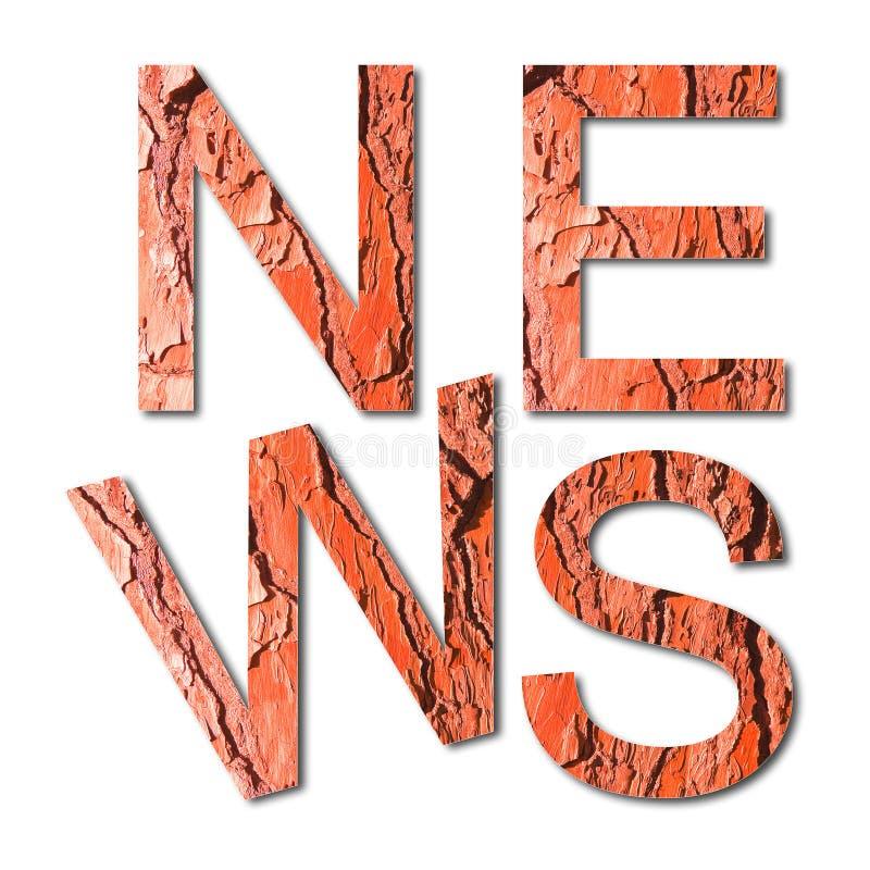 ` Новостей ` слова написанное с письмами в форме расшивы красной сосны - полезной для естественных тем стоковые изображения rf
