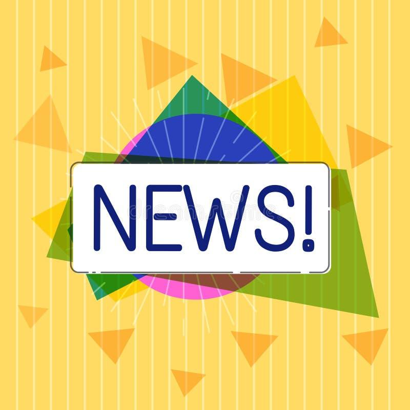 Новости текста почерка Концепция знача заново полученная или достопримечательная информация о действиях последних событий иллюстрация штока