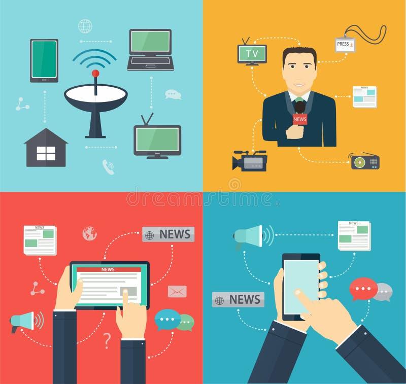 Новости через мобильные устройства, публицистика широковещания иллюстрация вектора