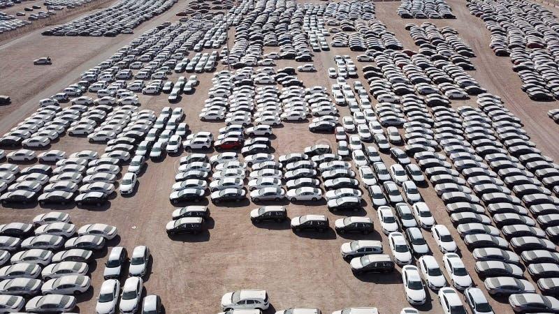 Новые автомобили предусматриванные в защитных белых листах стоковая фотография rf