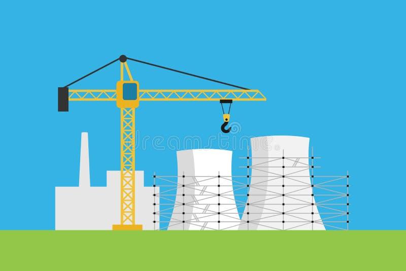 Новые атомная электростанция и электростанция строение бесплатная иллюстрация