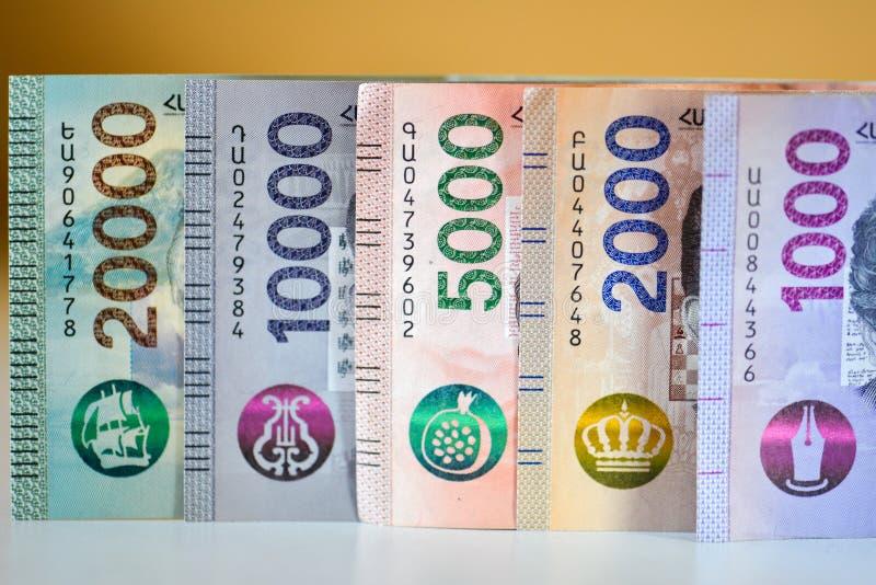 Новые банкноты Республики Армения стоковые фотографии rf