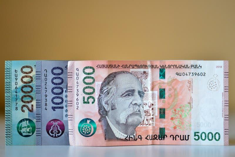 Новые банкноты Республики Армения стоковые изображения rf